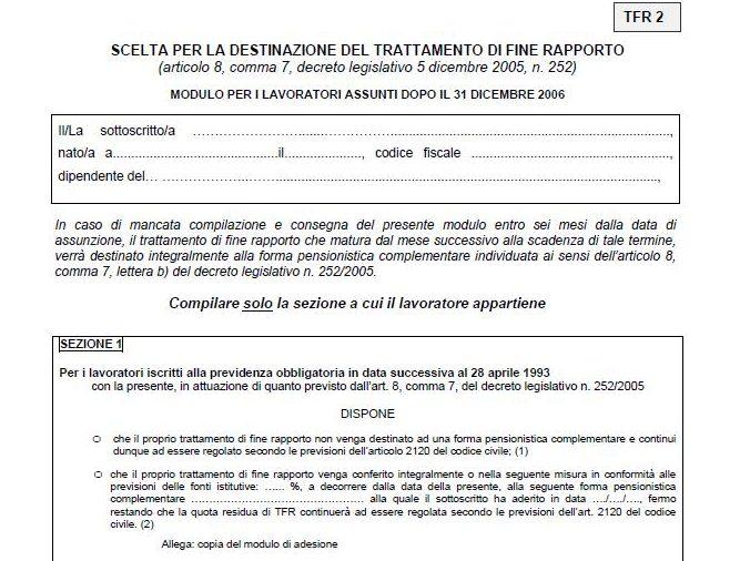 NUOVO MODELLO TFR-2 PER LA SCELTA DI DESTINAZIONE DEL TFR